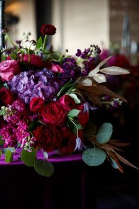 colorful weddings red purple pink gold flower centerpieces