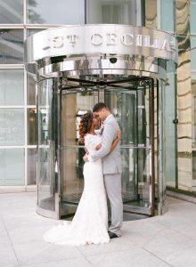 off the shoulder lace wedding dress grey tuxedo black dress shoes