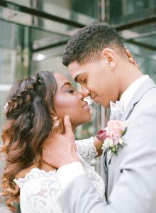half up half down bridal hairstyles bride groom