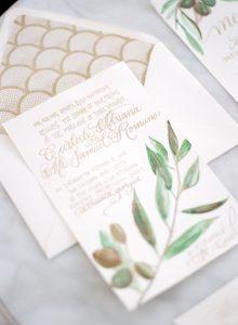 gold calligraphy wedding invitations leaf detail