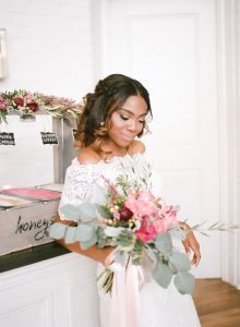 off the shoulder lace wedding dress gelato bar wedding dessert pink magenta bridal bouquet