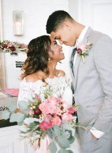 bride groom pink peach magenta bouquet boutonniere gelato bar wedding dessert