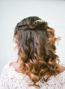 half up half down simple braided bridal hair style