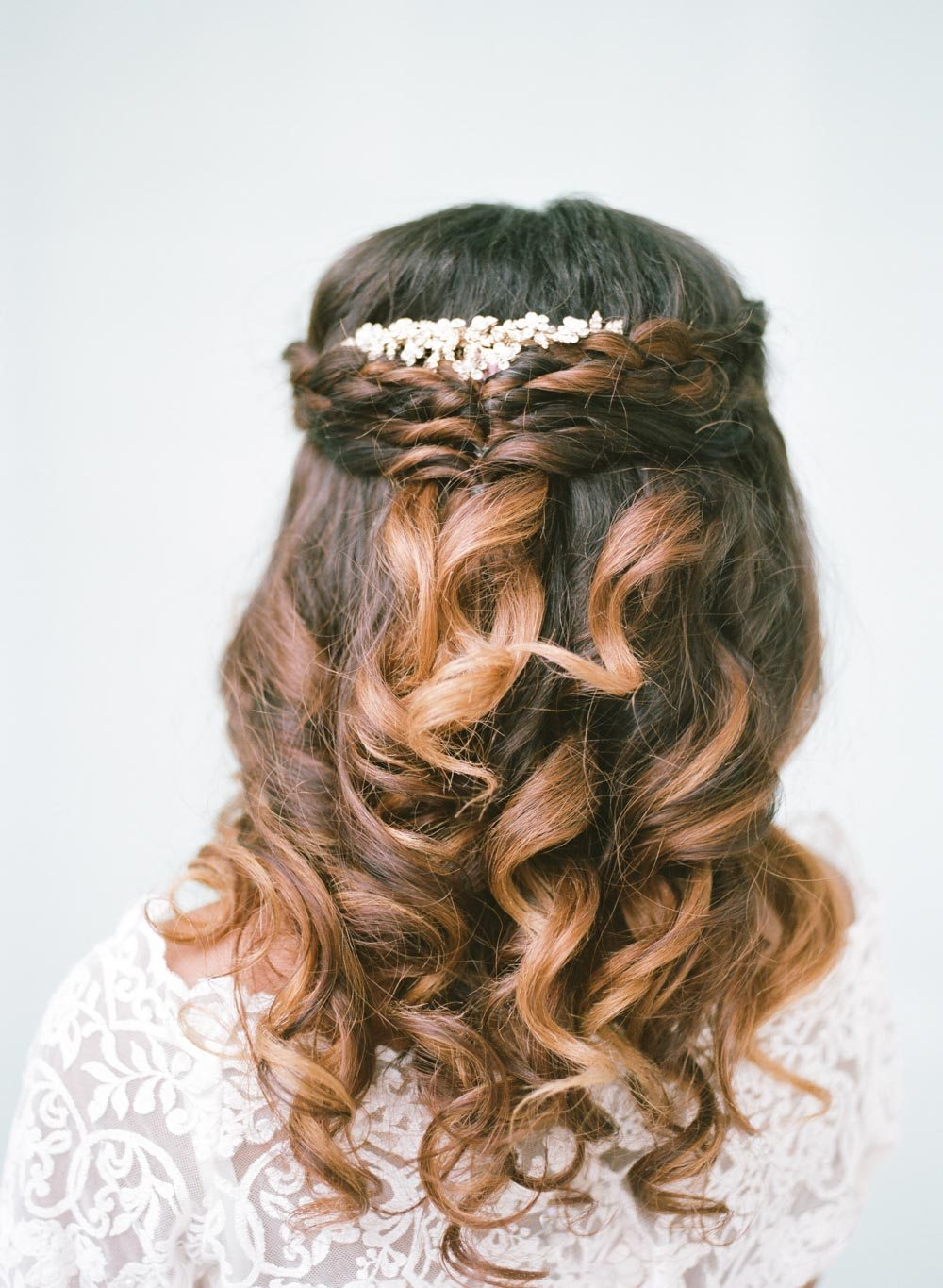 half up half down simple braided bridal hair style