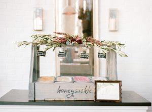 wedding reception gelato dessert bar chalkboard signs magenta red floral decoration wooden framed gold calligraphy sign