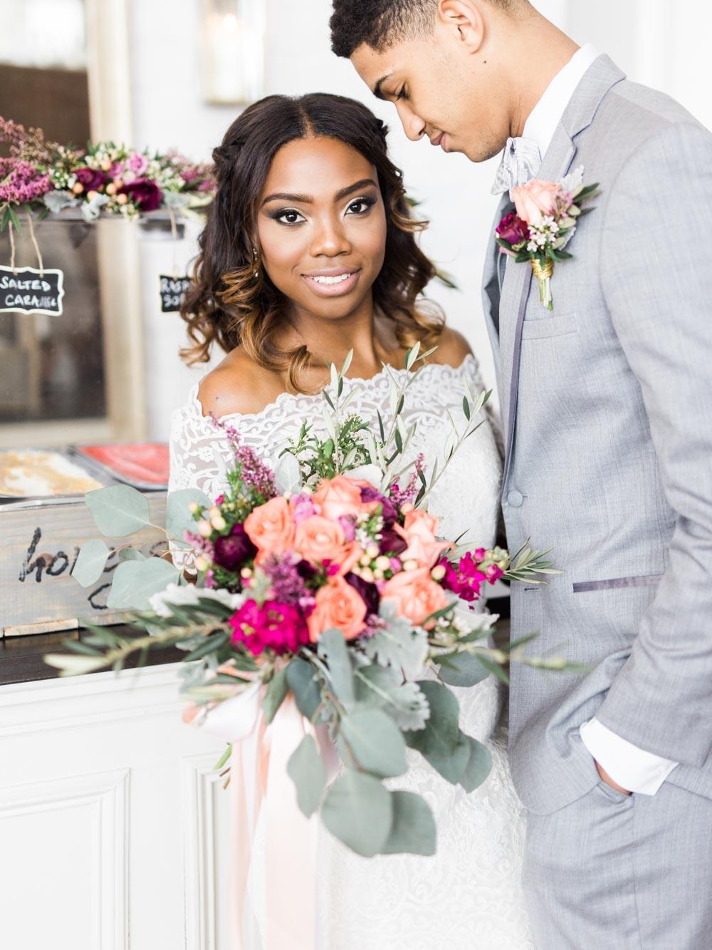 pink purple magenta bouquet boutonniere