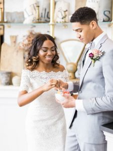 bride groom purple pink boutonniere gelato bowl wedding reception dessert