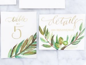 gold green cream wedding invitations