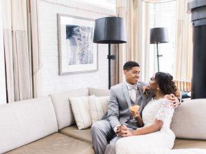 grey tuxedo off the shoulder lace wedding dress orange wedding cocktail