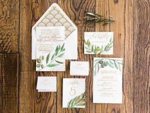 gold green cream wedding invitations