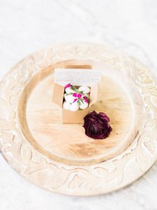 white almond wedding favor cardboard box simple calligraphy note