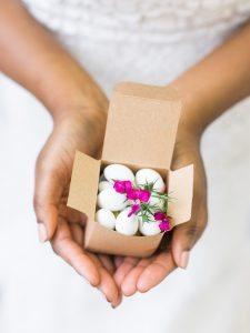 white almond wedding favor cardboard box simple