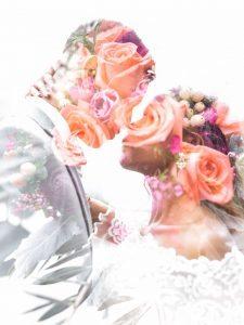 flower bouquet edit over wedding couple