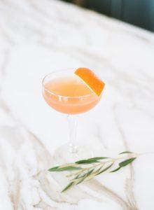 orange wedding cocktail orange garnish