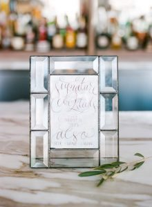 simple calligraphy wedding bar menu glass frame
