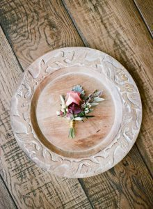 pink purple gold wrapped boutonniere