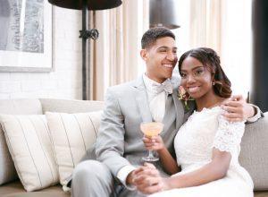 grey tuxedo orange wedding cocktail braided bridal hair style off the shoulder lace wedding dress