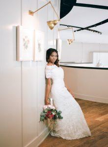 off the shoulder lace wedding dress pink magenta bridal bouquet