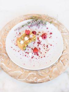 raspberry flavored wedding dessert