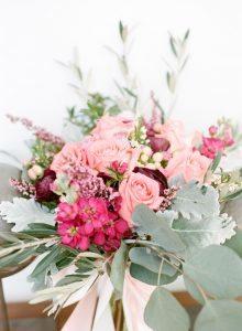 pink peach magenta bridal bouquet pink bow