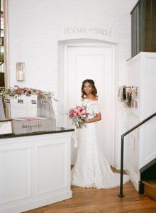 off the shoulder lace wedding dress pink peach magenta bridal bouquet gelato dessert bar