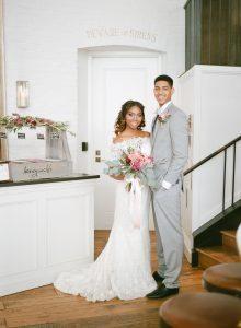 off the shoulder lace wedding dress pink peach magenta bridal bouquet boutonniere half up half down grey tuxedo gelato dessert bar wedding reception