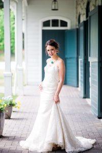 lace strapless wedding dress bold bridal jewelry