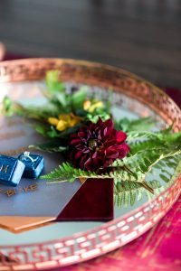 wedding decor flowers blue ring box