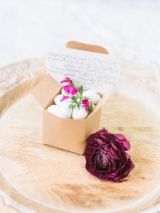white almonds wedding favor calligraphy note
