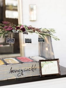 gelato bar wedding dessert red magenta floral decoration wooden gold calligraphy sign
