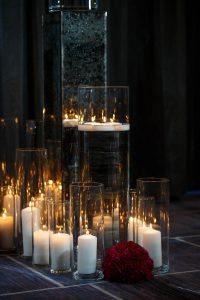 glass white candle wedding decorations