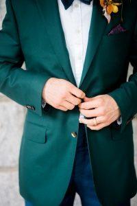 emerald green tuxedo jacket colorful wedding