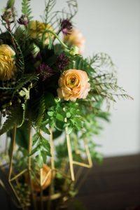 peach purple gold floral arrangements colorful wedding