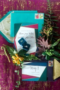 multicolored block style wedding invitations pink emerald teak purple gold navy