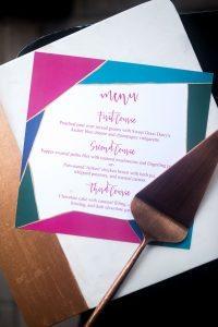 multicolored wedding reception menu card teal pink emerald gold