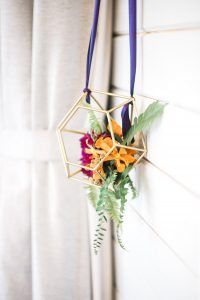 orange and fushia flower ornament wedding decor