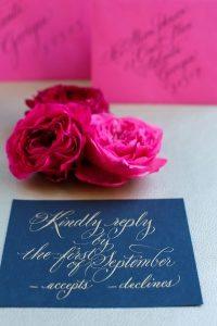 navy blue gold wedding invitation pink envelope calligraphy