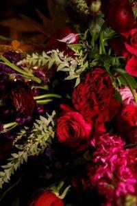 red pink purple flower arrangements centerpieces colorful wedding