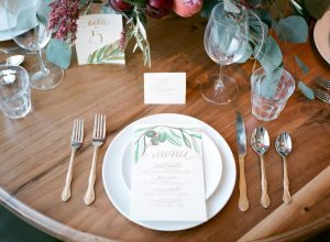simple white plate place setting