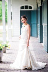 strapless lace wedding dress bold bridal jewelry purple green emerald