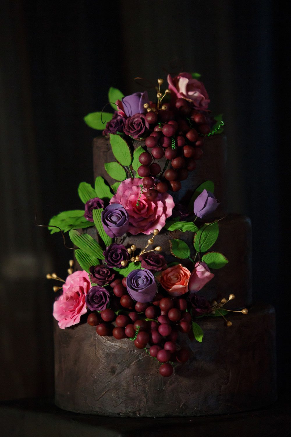 purple pink red plum flower grape detail wedding cake