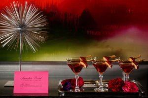pink and black menu card wedding bar specialty drink