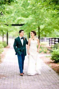 colorful wedding bride groom lace wedding dress emerald tuxedo jacket bold bridal jewelry