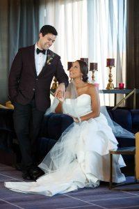 wedding dress groom fashion plum tuxedo jacket boutonniere purple gold