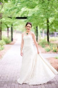strapless lace wedding dress bold multicolored jewelry