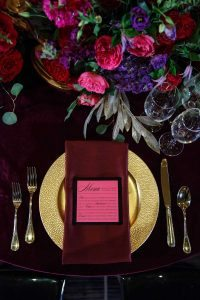 pink and black menu card wedding place settings colorful red gold pink plum floral centerpieces