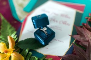 wedding ring blue monogrammed ring box