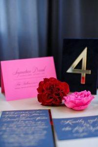 wedding stationery pink gold red blue black