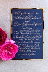 navy blue gold wedding invitation