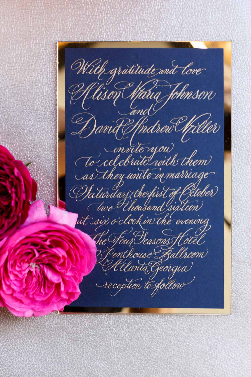 navy blue gold wedding invitation